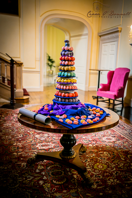 The groom made this spectacular colourful macaroon tower for the guests to marvel over